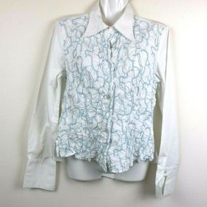 Samuel Dong Womens Blouse Long Sleeve Button Up